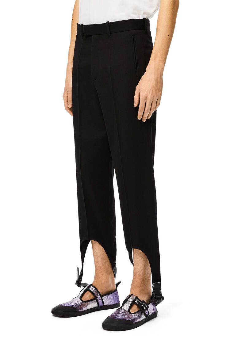 LOEWE Leather strap trousers in wool Black pdp_rd