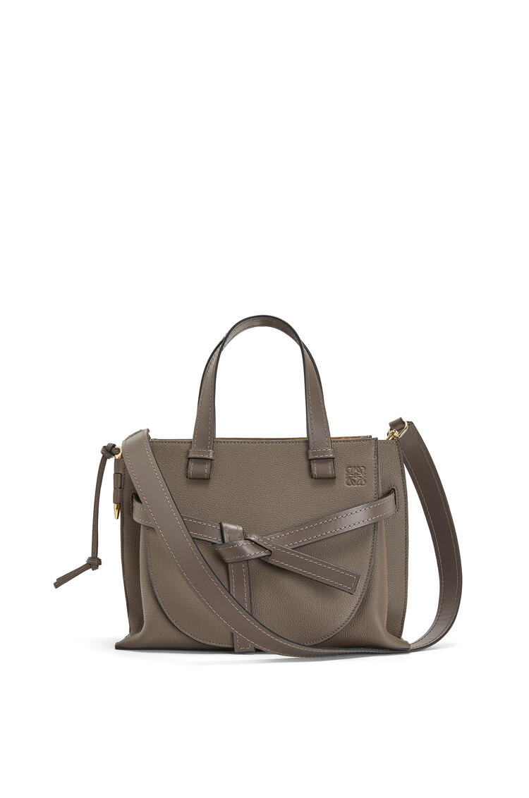 LOEWE Small Gate Top Handle bag in soft grained calfskin Dark Taupe pdp_rd