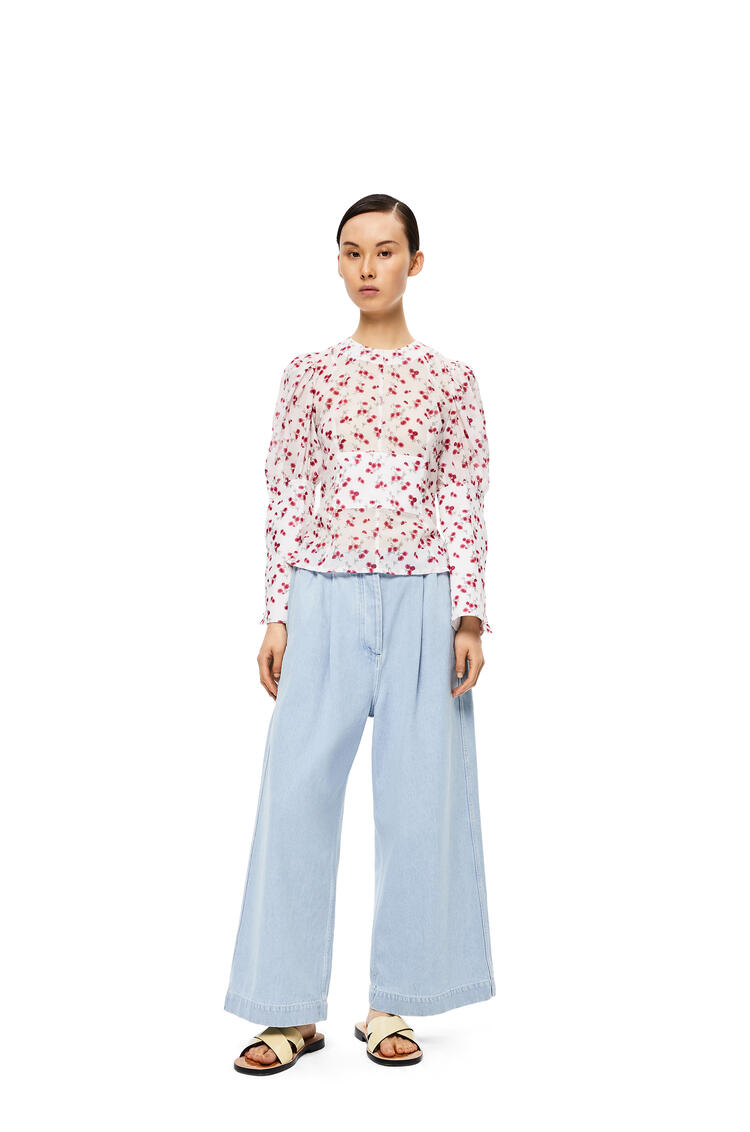 LOEWE Balloon sleeve top in flower cotton White/Pink pdp_rd
