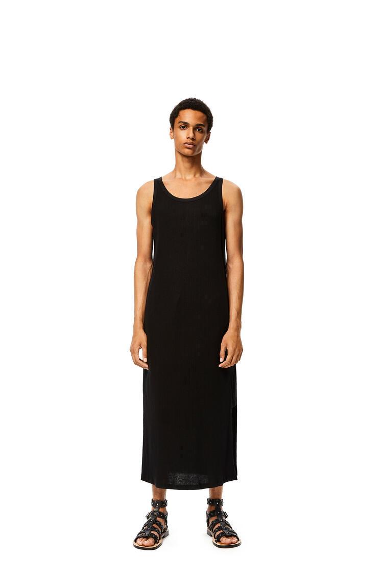 LOEWE Camiseta Larga Sin Mangas Acanalada En Algodón Negro pdp_rd