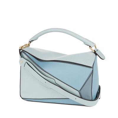 LOEWE パズル バッグ aqua/light blue/stone blue front