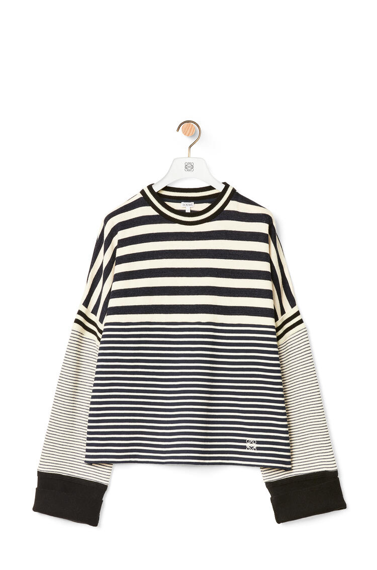 LOEWE Oversize sweatshirt in striped cotton Ecru/Navy Blue pdp_rd
