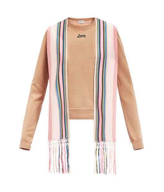LOEWE Gros Grain Detail Sweater Camel/Multicolor front