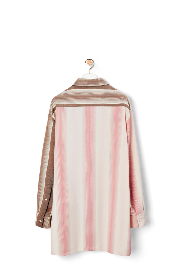 LOEWE Oversize double pocket shirt in wool and cotton Pink/Brown pdp_rd