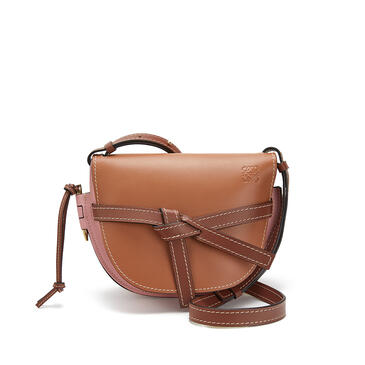 LOEWE 小号柔软牛皮革 Gate 手袋 Tan/Medium Pink pdp_rd