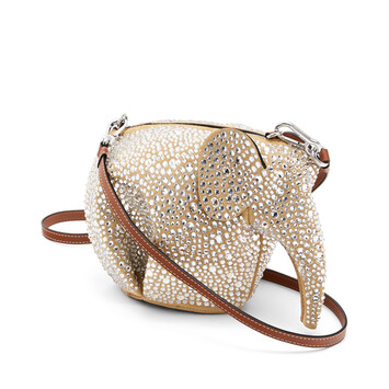LOEWE エレファント ミニ バッグ Gold/Crystal front