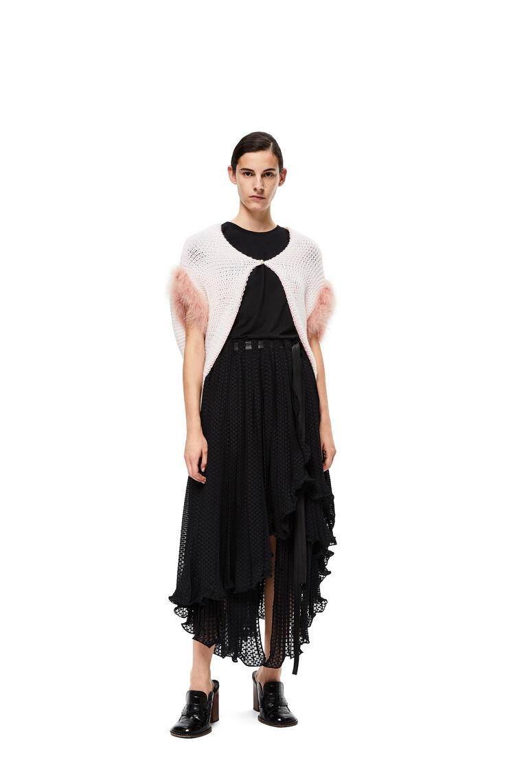 LOEWE Feather trim bolero in wool White/Pink pdp_rd
