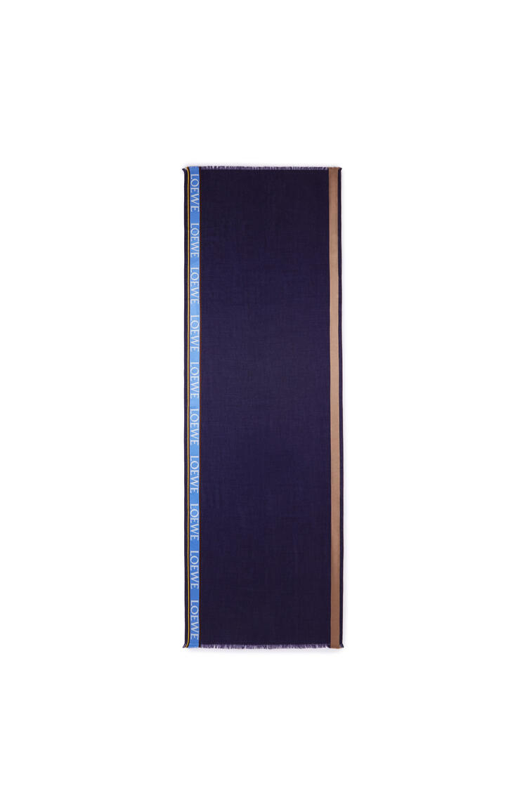 LOEWE LOEWE border scarf in wool, silk and cashmere Blue/Navy pdp_rd