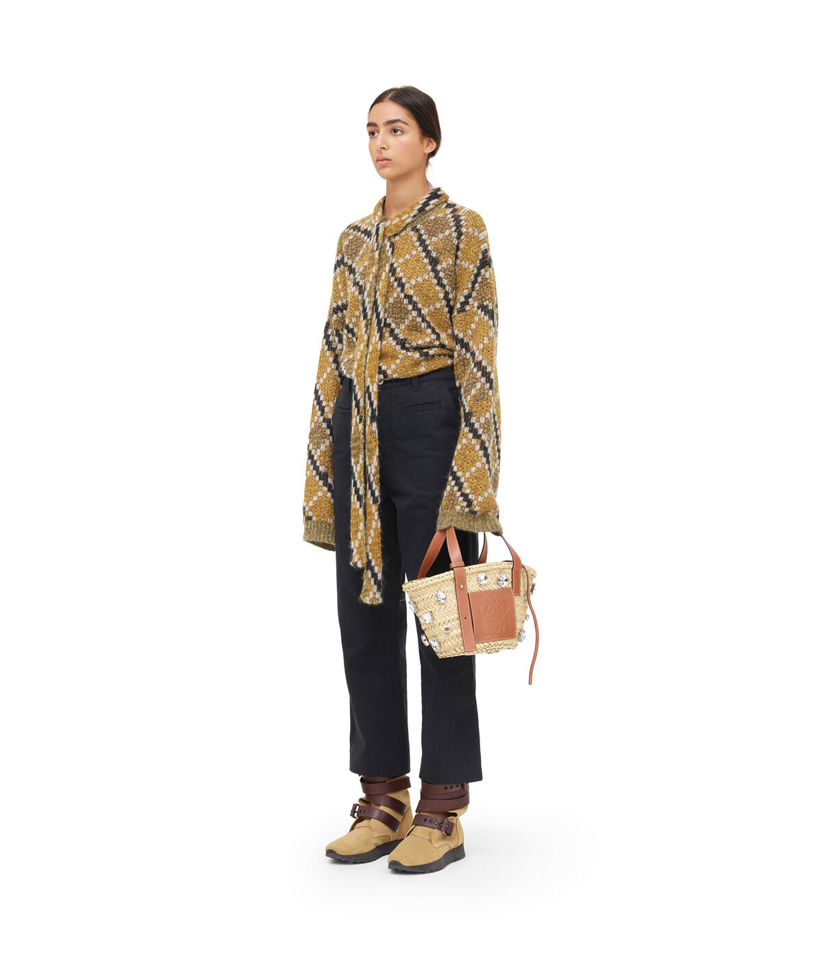 LOEWE Belted Sweater Gold/Black front