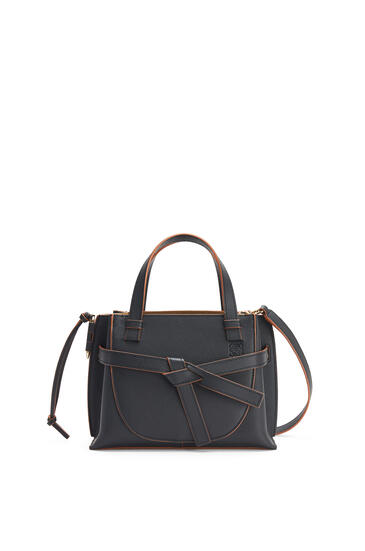 LOEWE Mini Gate top handle bag in pebble grain calfskin Black pdp_rd