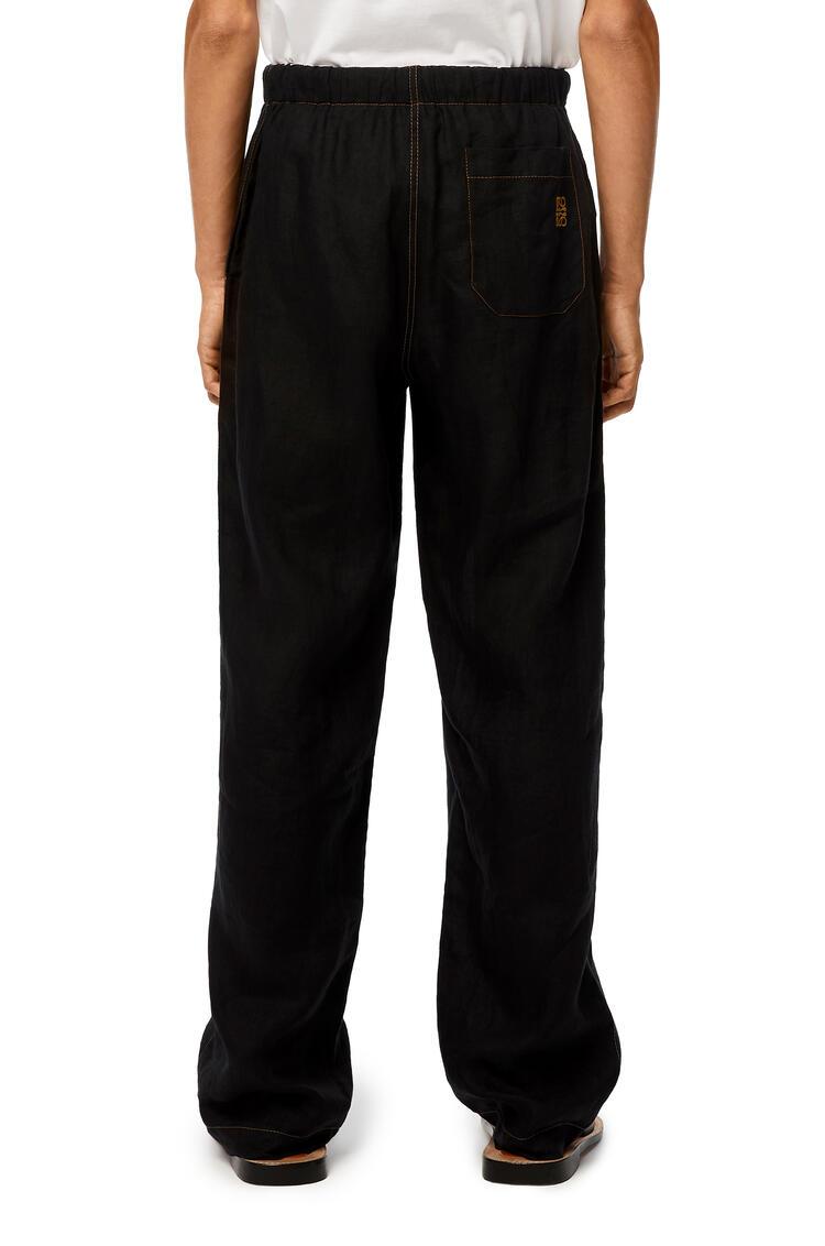 LOEWE Seersucker drawstring trousers in cotton Navy Blue/Black pdp_rd