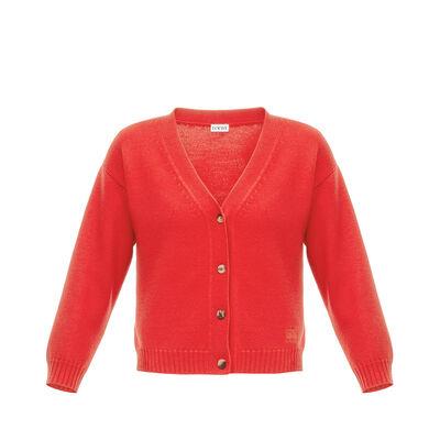 LOEWE Short Cardigan Red front
