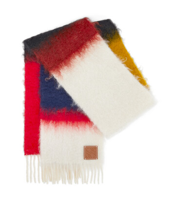 LOEWE 23X185 Mohair Scarf Stripes Red/Multicolour front