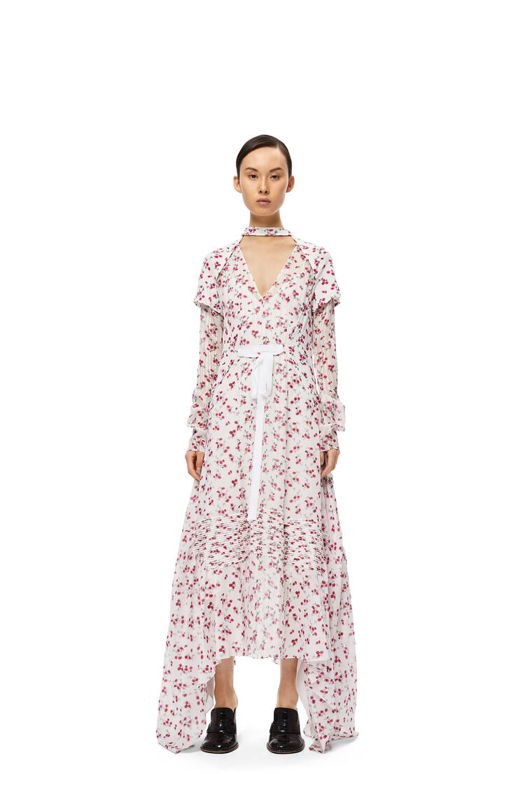 LOEWE Dress in flower cotton and silk White/Pink pdp_rd