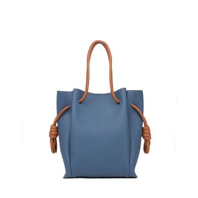 LOEWE Flamenco Knot Tote Small Bag Varsity Blue/Tan front