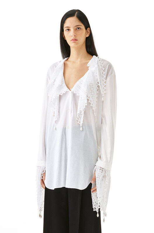 LOEWE Lace Petal Blouse White front