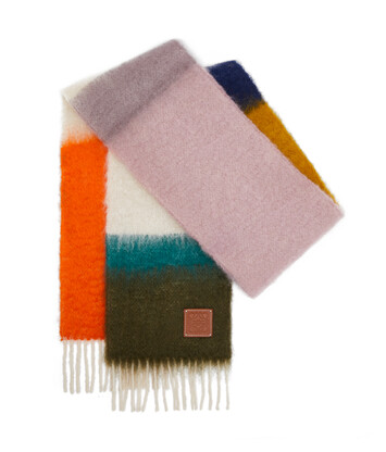 LOEWE 23X185 Mohair Scarf Stripes Orange/Multicolor front