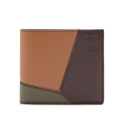 LOEWE Puzzle Bifold Wallet Choc Brown/Khaki Green/Tan front