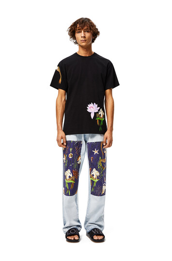 LOEWE Patch Trousers In Mermaid Cotton Light Blue/Multicolor front