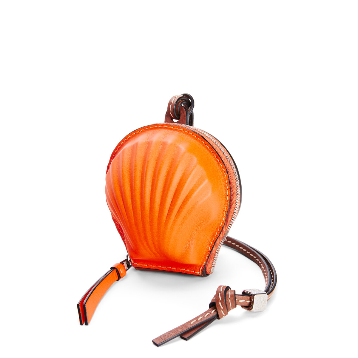 LOEWE Mini Seashell Pouch In Classic Calfskin Neon Orange front