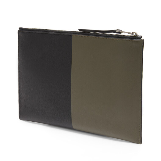 LOEWE Flat Pouch Herald Khaki Green/Black front