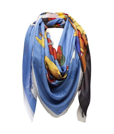 LOEWE 140X140 Scarf Holiday Yellow/Blue front