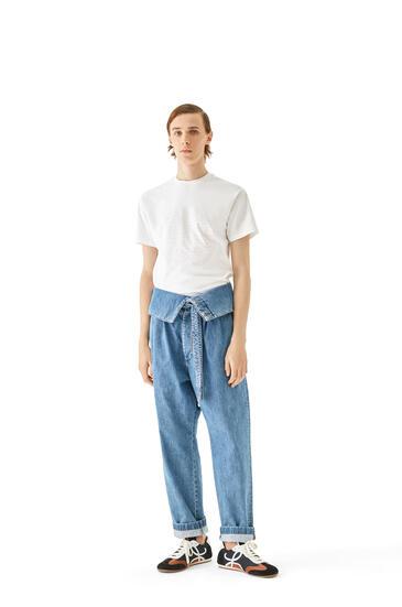 LOEWE Vaquero plisado oversize en algodón con cinturón Azul Denim pdp_rd