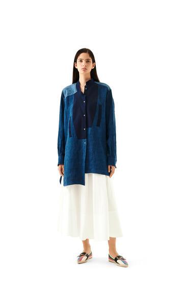 LOEWE Long Asymmetric Shirt In Linen Blue Multitone pdp_rd