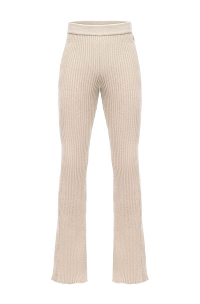 LOEWE Knitted Flared Trousers Beige front