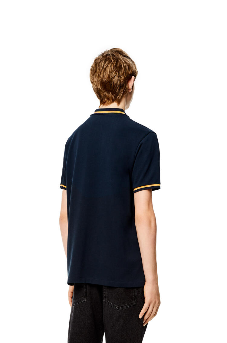 LOEWE Anagram polo shirt in cotton Petroleum pdp_rd
