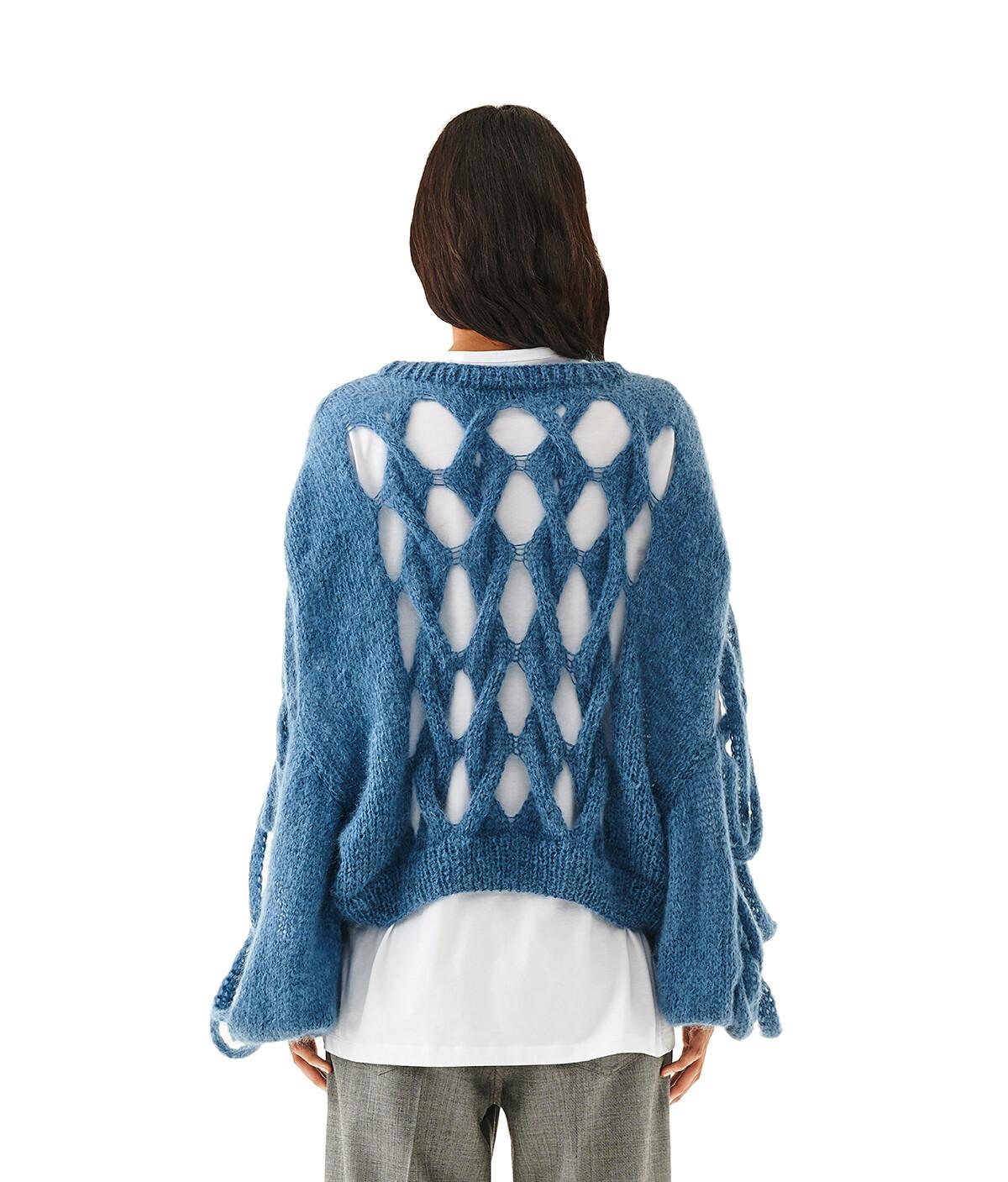 LOEWE Knit Mesh Sweater Blue front