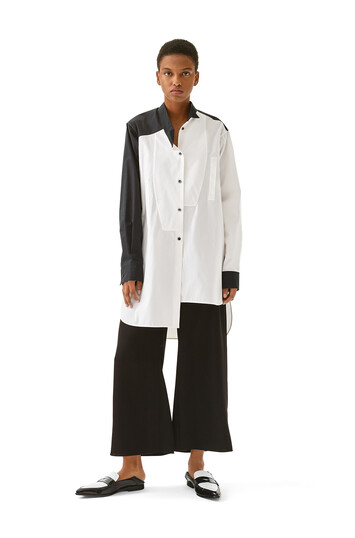 LOEWE Long Asymmetric Bicolor Shirt Black/White front