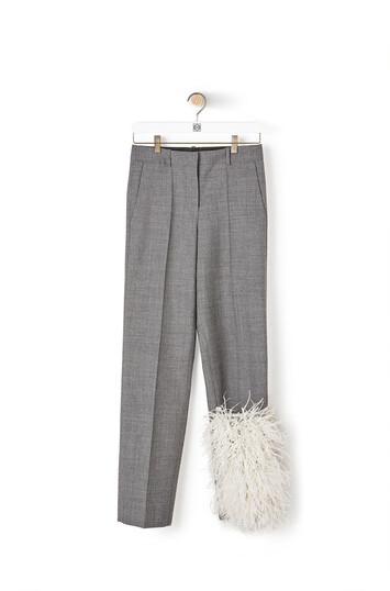 LOEWE Feather Trim Trousers Grey front
