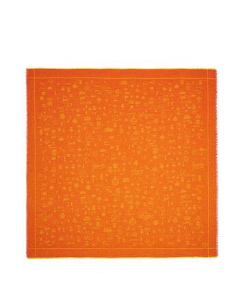 LOEWE 140X140 Scarf Logos 橙色 front