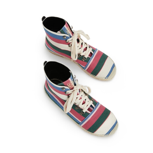 LOEWE Lace Up Boot Espadrille Pink/Green/Light Blue front