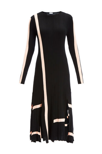 LOEWE Stripe Ribbed Knit Dress Black/Pink front