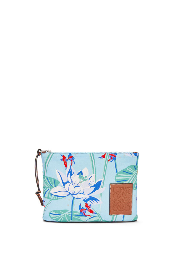 LOEWE Oblong pouch in printed canvas Aqua/White pdp_rd
