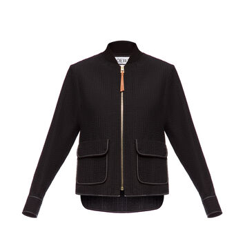 LOEWE Zip Jacket Seersucker Black front