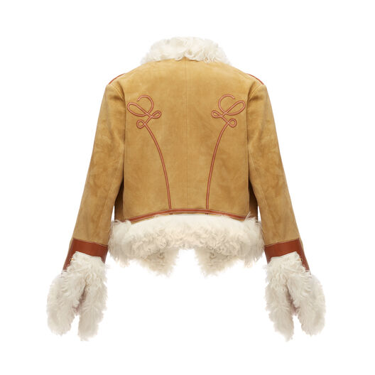 LOEWE Military Shearling Jacket Gold front