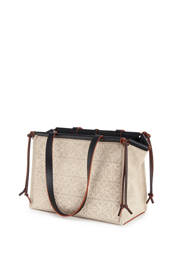 LOEWE Small Cushion tote bag in anagram linen and calfskin Natural/Black pdp_rd