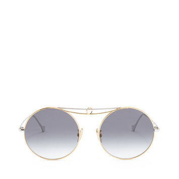 LOEWE Metal Knot Round Sunglasses Shiny Rhodium/Gradient Smoke front