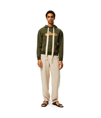 LOEWE Hoodie In Cotton Khaki Green front