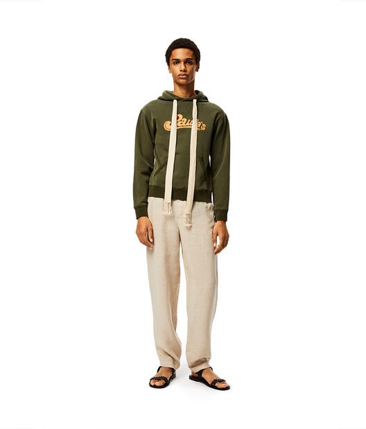 LOEWE Hoodie In Cotton Khaki Green front