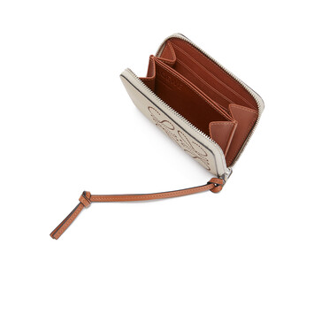 LOEWE Brand 6 Card Zip Wallet Light Oat/Tan front