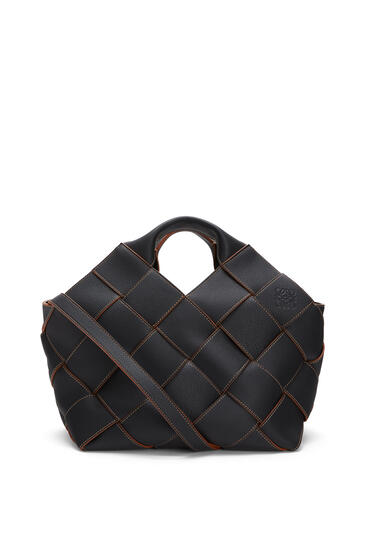 LOEWE Woven basket bag in soft grained calfskin Black/Tan pdp_rd