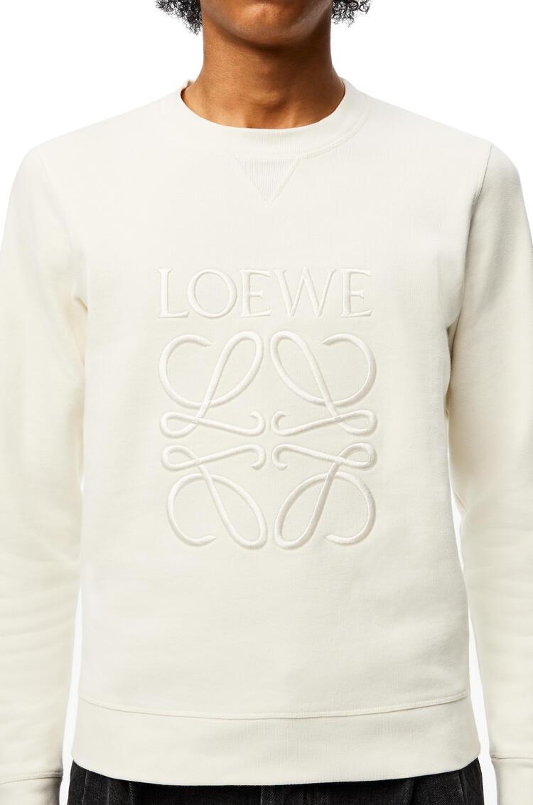 LOEWE Sudadera de algodón con el anagrama bordado Ecru pdp_rd