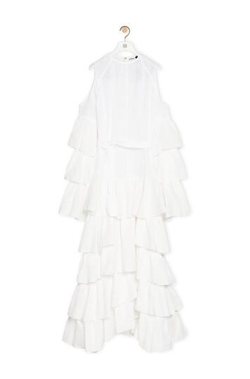 LOEWE Ruffle Dress In Linen White front