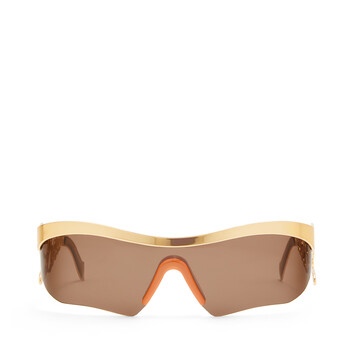 LOEWE Logo Mask Sunglasses Gold/Brown front