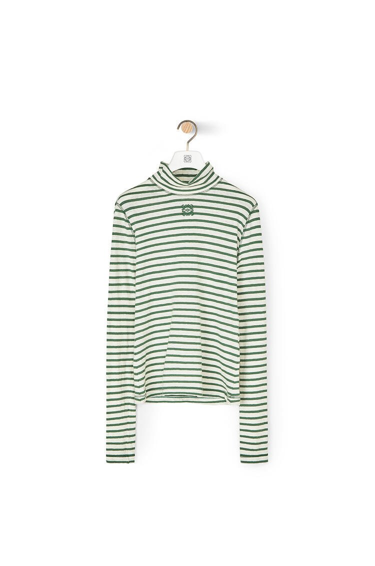 LOEWE Long Sleeve T-shirt In Striped Cotton Green pdp_rd