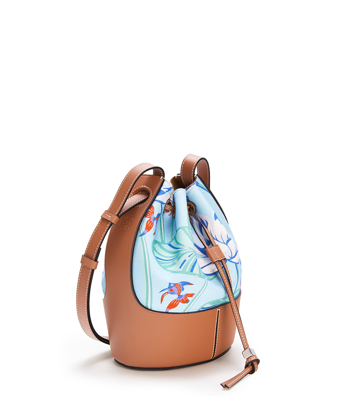 LOEWE Small Balloon Bag In Waterlily Canvas And Calfskin Aqua/Tan front